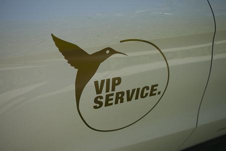 Ibiza, Spain - August 28, 2019  : Vip service car at Ushuaia hotel