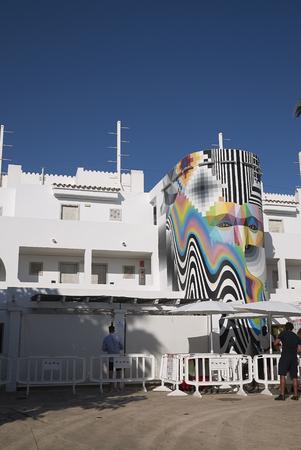 Ibiza, Spain - August 28, 2019  : View of Ushuaia disco club entrance