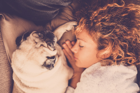 pure friendship relation between beauitufl caucasian middle age woman and nice dog pug. on the bed sleeping together and protect themselves. love and friends forever together