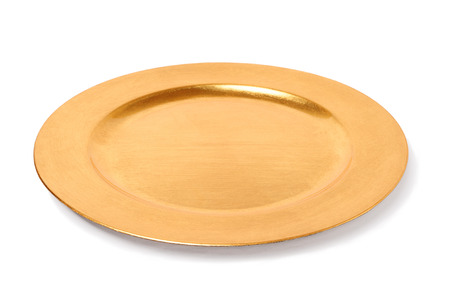 empty golden plate isolated over white background