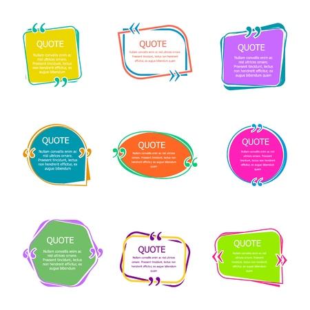 Illustration pour Quote boxes with text. Set of color quotes bubble templates. Speech bubbles. Citation in creative bubble vector isolated icons. - image libre de droit