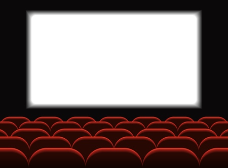 Illustration for Movie cinema. Cinema hall with seats. Premiere poster design with white screen. Vector background. - Royalty Free Image