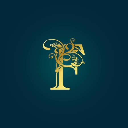 Illustration pour Golden Luxury Initial Letter F Logo Icon Vector Design Concept Floral Leaf with Letter. - image libre de droit