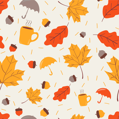 Illustration pour Seamless pattern with acorns ,umbrella,cup of tea and autumn oak leaves . pattern fills, web page background, autumn greeting card. - image libre de droit