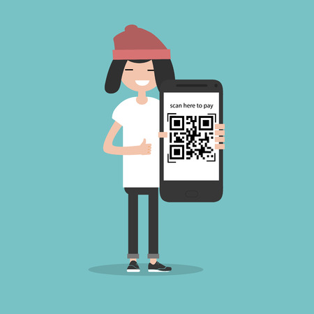 Illustration for Qr code payment.Scan here to pay.Young character with smartphone.Flat cartoon design.Clip art - Royalty Free Image