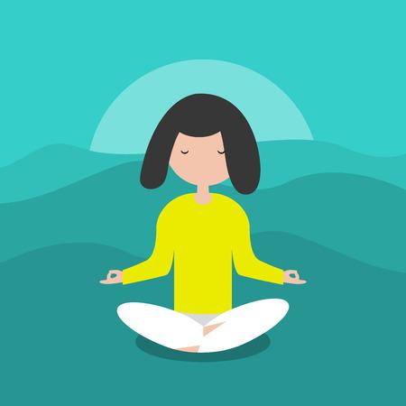 Meditation.Calm character sitting in a lotus pose. Flat cartoon design.Clip art.
