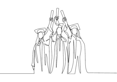 One line drawing group of young happy graduate male and female college student wearing gown and lifting diploma certificate paper up into the air. Education concept continuous line draw design vector