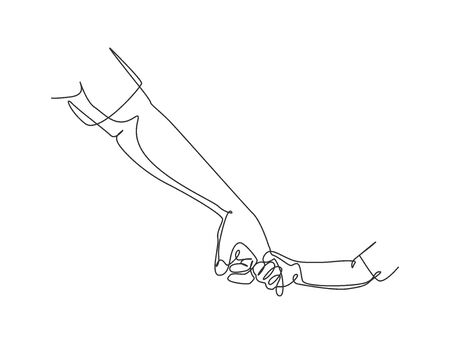 Illustration for One line drawing of father giving hand to his child. Parenting mother care in continuous line drawing design style. Parental concept. Modern continuous line draw vector graphic illustration - Royalty Free Image