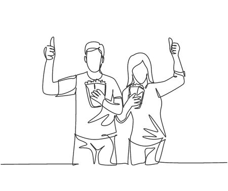 Illustration for One line drawing of young happy couple giving thumbs up gesture and holding pop corn ready to watch the movie on theater. Entertainment concept. Continuous line graphic draw design vector illustration - Royalty Free Image