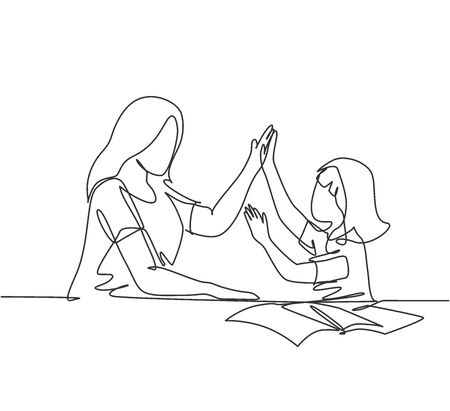 Illustration for One line drawing of young happy mother accompany her daughter study studying and reading book while giving high five gesture. Parenting concept continuous line draw design graphic vector illustration - Royalty Free Image
