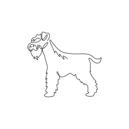 Illustration for Single one line drawing of adorable miniature schnauzer for company  identity. Purebred dog mascot concept for pedigree friendly pet icon. Modern continuous line draw design vector illustration - Royalty Free Image
