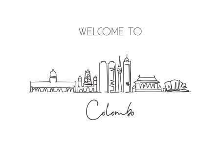 Illustration pour One continuous line drawing Colombo city skyline, Sri Lanka. Beautiful landmark postcard. World landscape tourism travel vacation. Editable stylish stroke single line draw design vector illustration - image libre de droit