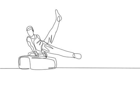 One single line drawing of young handsome gymnast man exercising pommel horse graphic vector illustration. Healthy lifestyle and athletic sport concept. Modern continuous line draw design