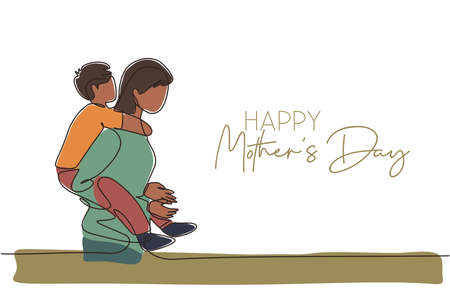 Illustration for One continuous line drawing of young mother walking to bedroom carrying her son. Happy mother's day concept. Greeting card with typography. Dynamic single line draw design vector illustration - Royalty Free Image