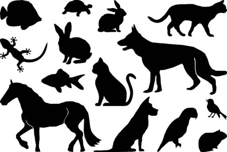 Illustration for Animal Pets Set Silhouette Outline - Royalty Free Image