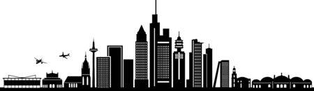 Illustration for FRANKFURT MAIN City Skyline Silhouette Cityscape Vector - Royalty Free Image