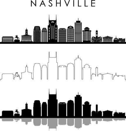 Illustration for NASHVILLE City Skyline Silhouette Cityscape Vector - Royalty Free Image