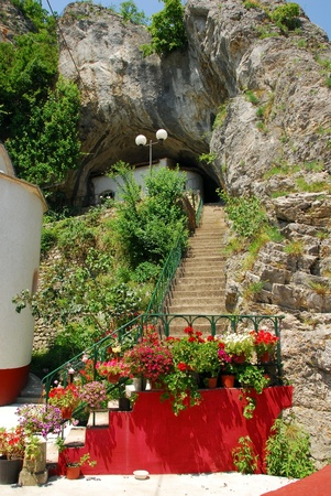 stone stairs into cave in old orthodox Gornjak Monastery in Serbia