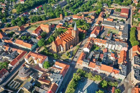 Photo for Aerial view of a Gothic church in a small town in Europe - Royalty Free Image
