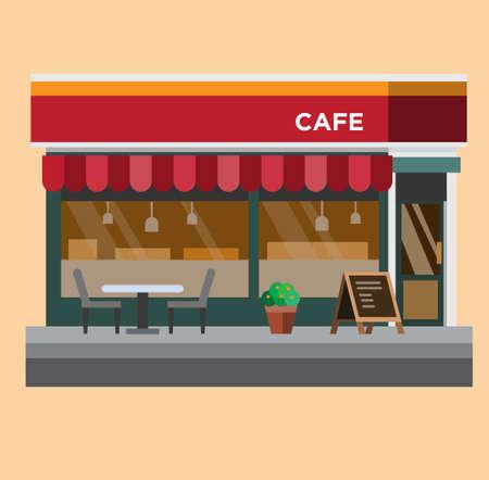 Illustration for coffe shop, cafe flat design illustration vector - Royalty Free Image