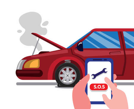 Illustration pour call roadside emergency assistance using smartphone in car accident. car insurance service concept in cartoon flat illustration vector isolated in white background - image libre de droit