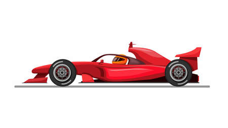 Illustration for Formula car and driver with halo aka head guard from side view concept in cartoon illustration vector on white background - Royalty Free Image