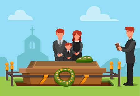 funeral ceremonial in christian religion. people sad family member passed away concept scene illustration in cartoon vector