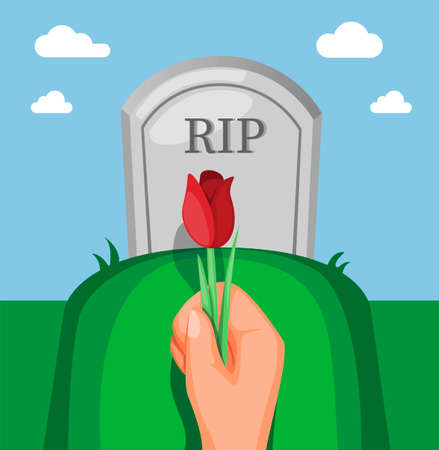 Hand holding flower on tombstone in funeral concept in cartoon illustration vector
