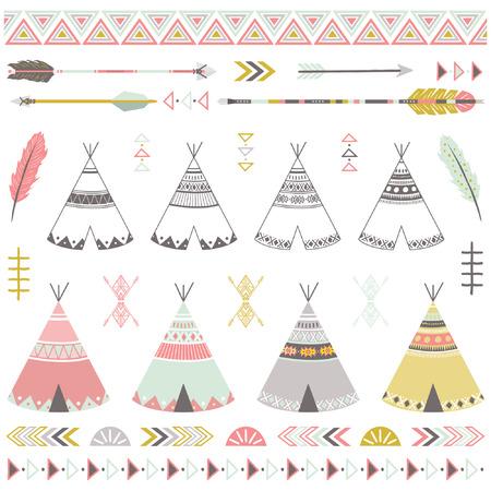Illustration pour Tribal Teepee Tents Elements - image libre de droit