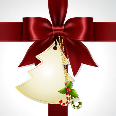 Illustration pour Maroon Red Gift Ribbon Bow and Christmas Tree shape card  Cross at the Center on White Background. Illustration of Maroon Red Ribbon Bow Vector with Christmas Tag Card. - image libre de droit