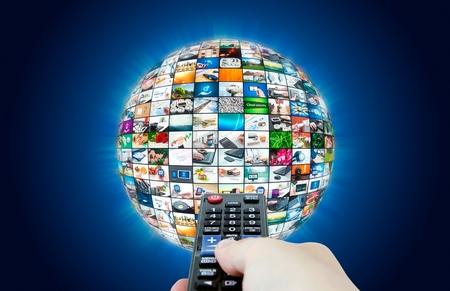 Photo pour Television broadcast multimedia sphere abstract composition - image libre de droit