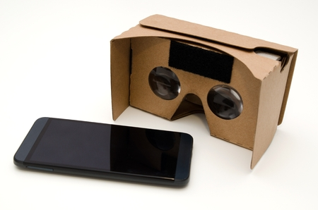 Photo pour Virtual reality cardboard glasses. Easy way to watch movies and play games in 3D - image libre de droit