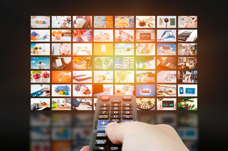 Photo pour Multimedia video wall television broadcast. multimedia wall television video broadcast advertising background broadcasting concept - image libre de droit