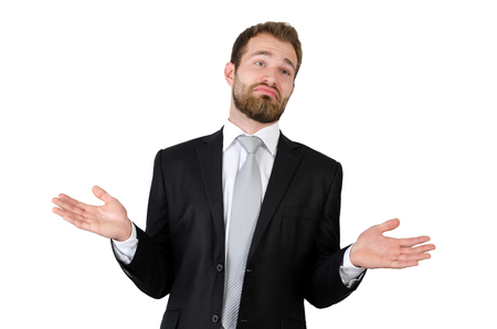Businessman shrugging off against white background. dont know hands pose man business businessman understanding concept