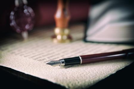 Photo pour Law, legal, notary public. Wax seal on handmade paper. Stamp court background concept - image libre de droit