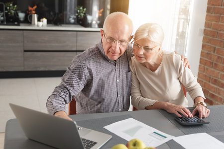 Photo pour Senior couple paying bills together on laptop. Couple doing some paperwork and calculations at home - image libre de droit