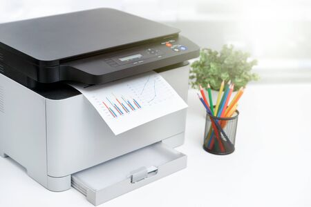 Photo for Multifunction device, copier, scanner, printer in office. Professional laser printer. - Royalty Free Image