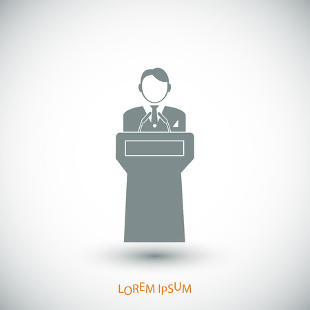 Speaker stands behind the podium, vector best flat icon