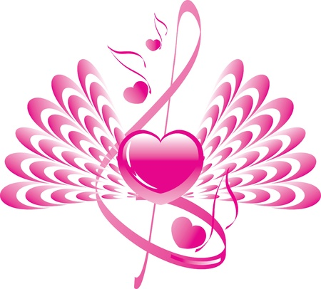 heart with wings, note and treble clef