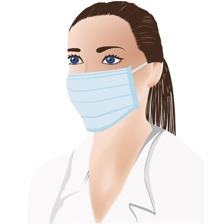 female doctor with medical mask on face