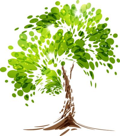 Illustration pour Green stylized vector tree on white background - image libre de droit
