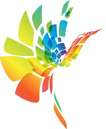 Ilustración de Abstract multicolored futuristic bird isolated on white background, vector illustration - Imagen libre de derechos