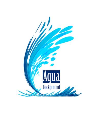 Illustration for Wave element on white background, splash water, frame shape - Royalty Free Image