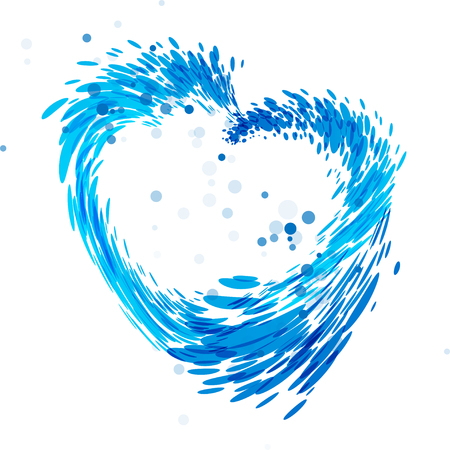 Illustration pour water drop heart shaped, water heart, blue heart, isolated on white, white background, splash heart, vector blue heart - image libre de droit