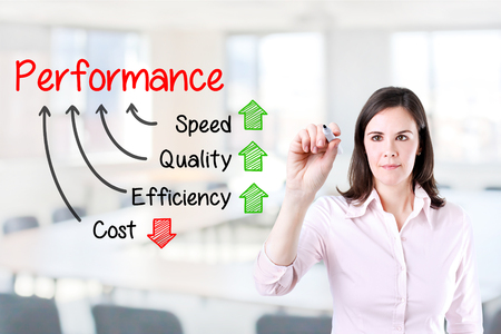 Businesswoman writing performance concept of quality Increase speed and efficiency Reduce cost. Office background.