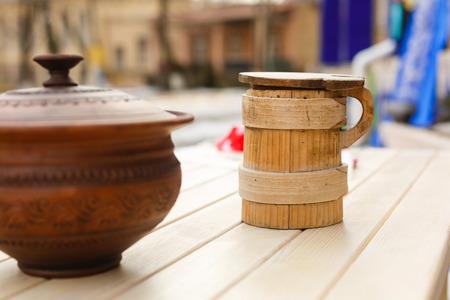 Ukrainian archaic kitchen utensils old Ukrainian Wooden jug