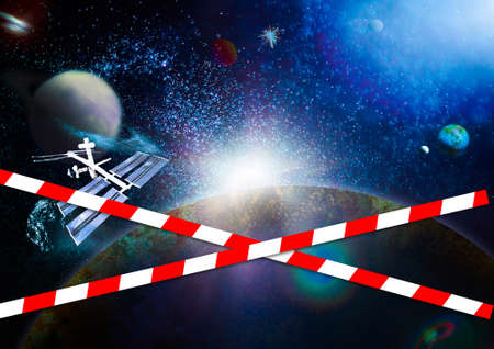 Photo for Quarantine Zone Warning Tape, Do Not Cross Concept. Red and white hazard safety stripes across space - Royalty Free Image