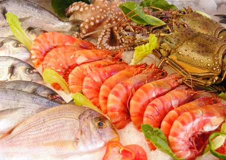 Fresh seafood photographed in a fishmarket