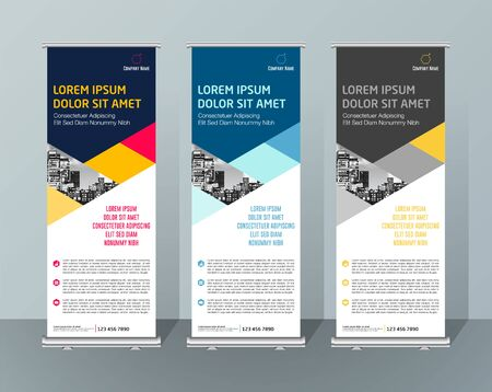 Illustration pour Banner Design Signboard Advertising Brochure Flyer Template Vector X-banner and Street Business Flag of Convenience, Layout Background - image libre de droit