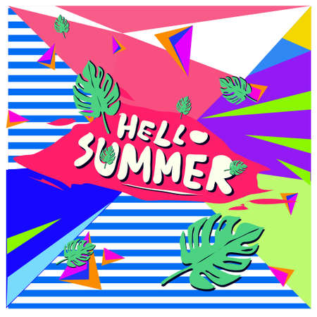 Illustration for Trendy vector summer cards illustration with floral elements and abstract colorful textures. Design for poster, card, invitation, brochure and promotion template. Fashion art print and background design. - Royalty Free Image